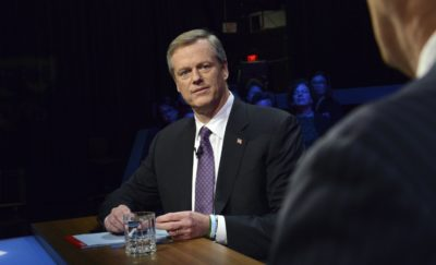 Republican Gov. Charlie Baker faces Democratic challenger Jay Gonzalez during a debate at the studios of WBGH-TV in Boston on Oct. 17, 2018. (Meredith Nierman/WGBH-TV via AP)