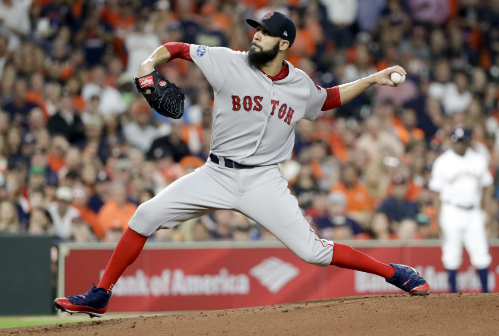 Boston Red Sox starting pitcher David Price throws against the Houston Astros during the first inning Thursday. Price got the win as the Sox advanced. (David J. Phillip/AP)
