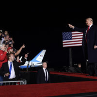 President Donald Trump arrives to speak at a rally at Central Wisconsin Airport in Mosinee, Wis., Wednesday, Oct. 24, 2018. (Susan Walsh/AP)