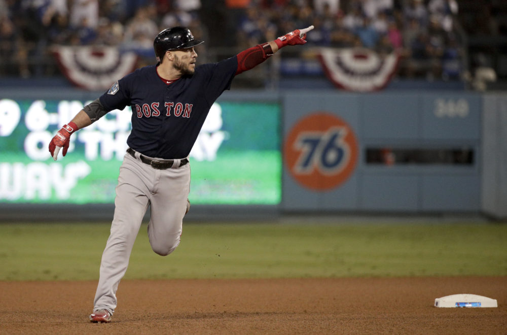 Boston Red Sox's Steve Pearce celebrates after his home run against the Los Angeles Dodgers during the eighth inning in Game 4 of the World Series baseball game on Saturday, Oct. 27, 2018, in Los Angeles. (Jae C. Hong/AP)