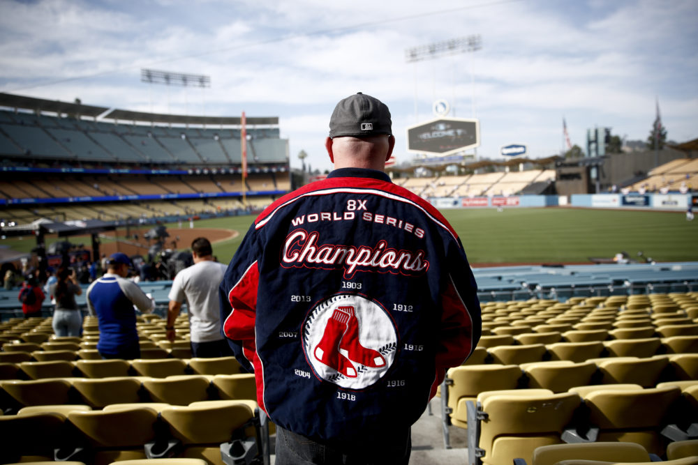 A Boston Red Sox fan arrives before Game 5 of the World Series baseball game against the Los Angeles Dodgers on Sunday, Oct. 28, 2018, in Los Angeles. (Jae C. Hong/AP)