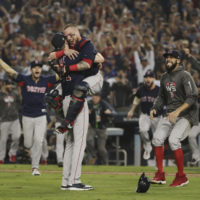 The Boston Red Sox celebrate after Game 5 of baseball's World Series against the Los Angeles Dodgers on Sunday, Oct. 28, 2018, in Los Angeles. The Red Sox won 5-1 to win the series 4 game to 1. (Jae C. Hong/AP)