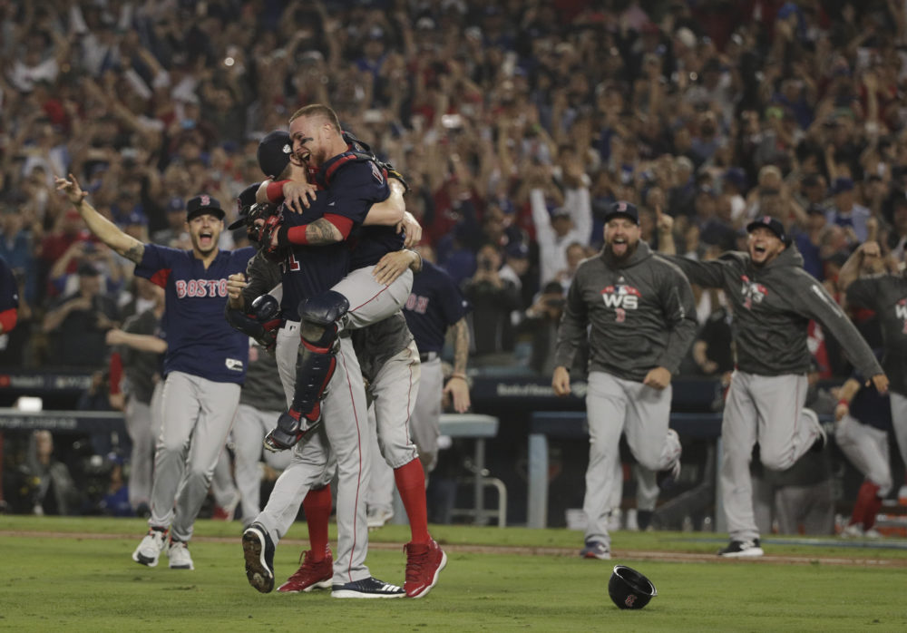 The Boston Red Sox celebrate after winning the World Series against the Los Angeles Dodgers on Sunday, Oct. 28, 2018, in Los Angeles. The Red Sox won 5-1 to win the series 4 games to 1. (Jae C. Hong/AP)