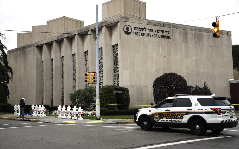 A police vehicle is posted near the Tree of Life/Or L'Simcha Synagogue in Pittsburgh, Monday, Oct. 29, 2018. (Matt Rourke/AP)