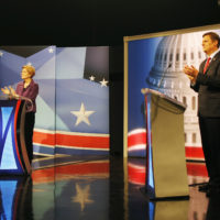 Sen. Elizabeth Warren and GOP candidate Geoff Diehl engage in a political debate hosted at WCVB studios in Needham on Tuesday. (Michael Swensen/The Boston Globe via AP, Pool)