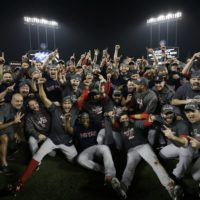 The Boston Red Sox celebrate after Game 5 of baseball's World Series against the Los Angeles Dodgers on Sunday, Oct. 28, 2018, in Los Angeles. The Red Sox won 5-1 to win the series 4 game to 1. (David J. Phillip/AP)