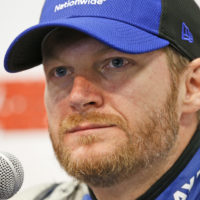 Dale Earnhardt Jr., speaks to the media during a press conference at the Martinsville Speedway  Friday, April 1, 2016 in Martinsville, Va. (Steve Helber/AP)