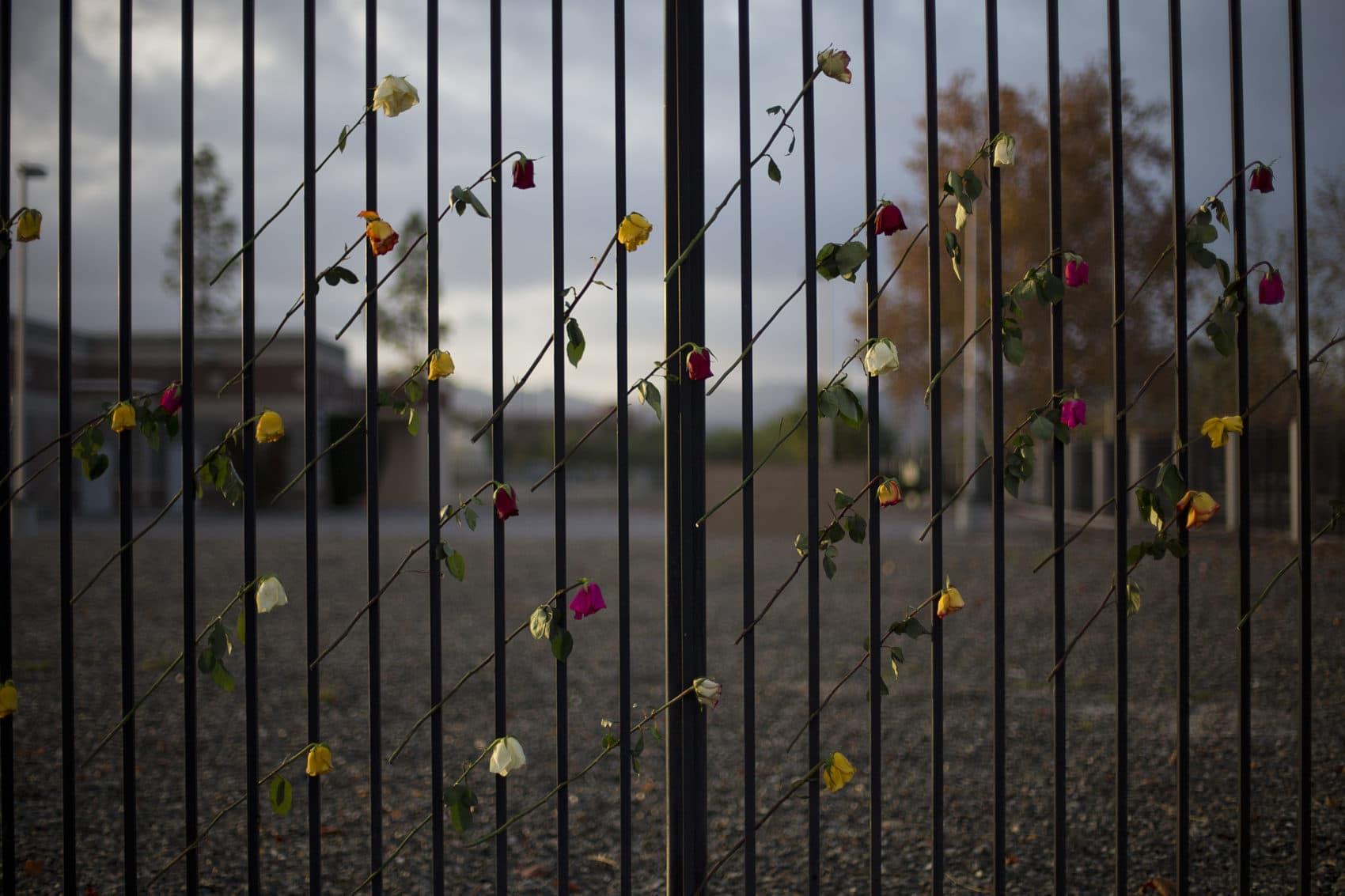 Roses adorn a makeshift memorial near the Inland Regional Center, Friday, Dec. 11, 2015, in San Bernardino, Calif. (AP Photo/Jae C. Hong)