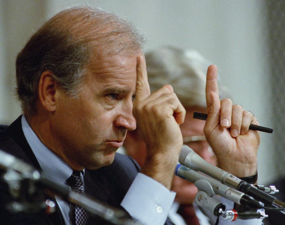Senate Committee Chairman Joseph Biden, D-Del., gestures during hearings before the committee on allegations of sexual harassment by Supreme Court nominee Clarence Thomas on Capitol Hill in Washington, Oct. 12, 1991. Thomas issued fresh denials that he ever sexually harassed former aide Anita Hill. (Greg Gibson/AP)
