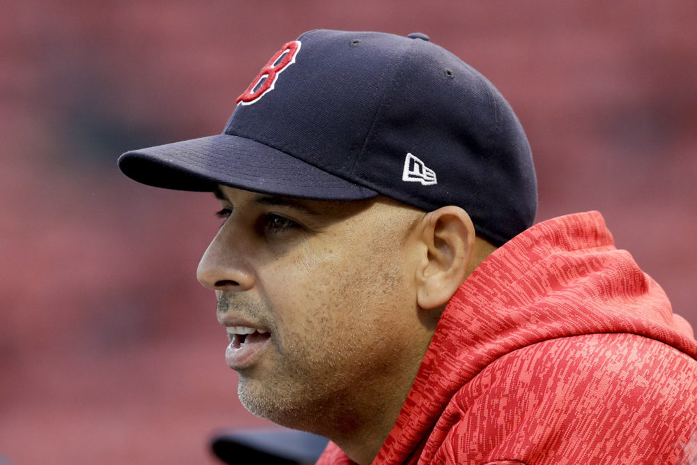 Red Sox manager Alex Cora watching batting practice against the Houston Astros in the American League Championship Series.  (Charles Krupa/AP)
