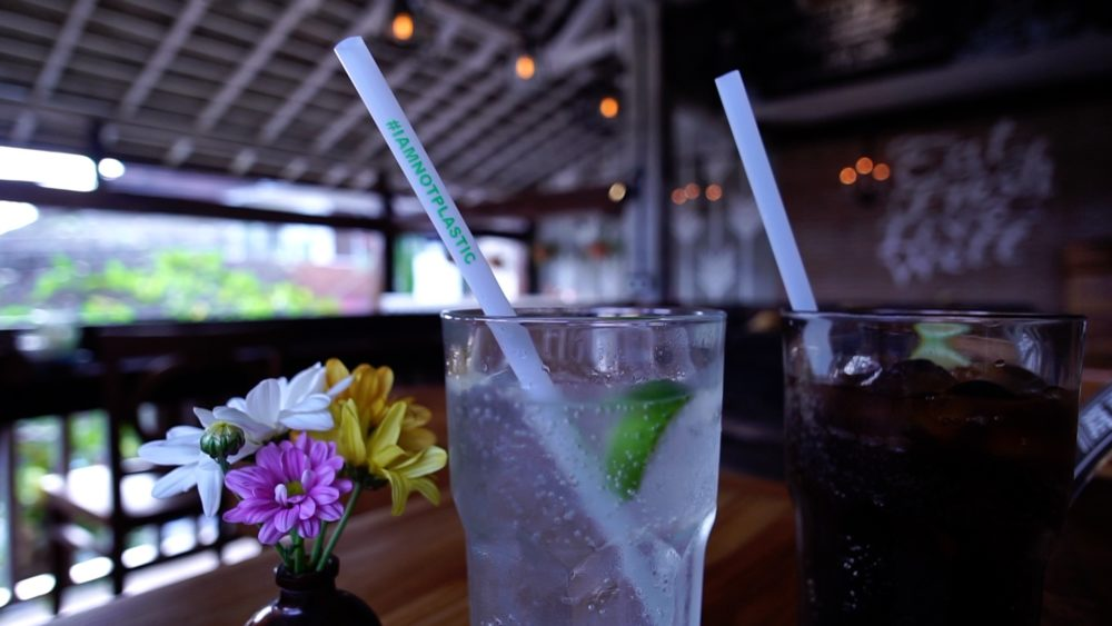 "Avani Eco ""I Am Not Plastic"" straws are widely used at restaurants and bars in Bali. (Courtesy of Niall Macaulay)"
