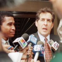 Assisant U.S. Attorney's Zane Memeger, left, and Barry Gross speak to the press outside the Federal Courthouse in Philadelphia Thursday, July 1, 1999. The two attorneys are trying a case against reputed Philadelphia mob boss Joseph Merlino who was denied bail in a hearing Thursday. Merlino is charged with running an operation to sell cocaine in the Boston area. (Chris Gardner/AP)
