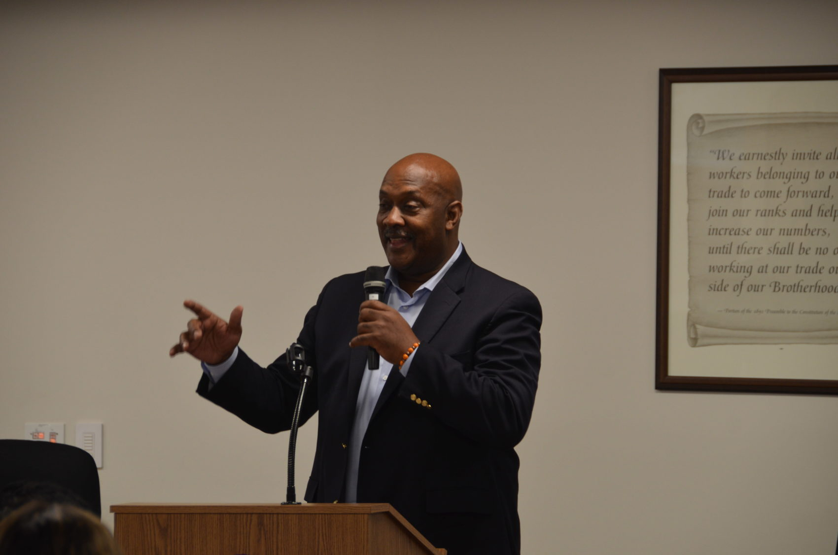 Rep. Dwight Evans, D-Penn., addresses the crowd at a rally for Susan Wild at the IBEW union hall in Allentown, Penn. (Alex Schroeder/On Point)