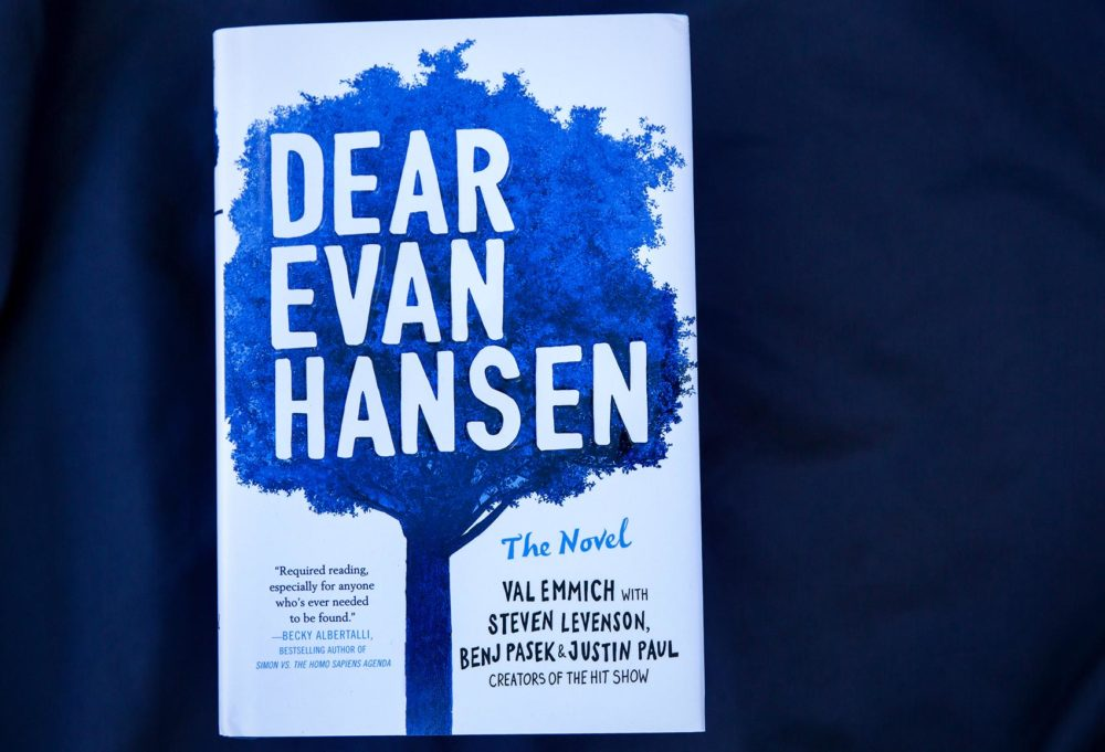 """Dear Evan Hansen: The Novel,"" by Val Emmich, Steven Levenson, Benj Pasek and Justin Paul. (Robin Lubbock/WBUR)"