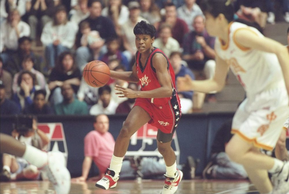 Sheryl Swoopes wearing her signature shoe in a 1996 Team USA exhibition game. (Doug Pensinger/Allsport)