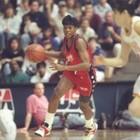 Sheryl Swoopes wearing her signature shoe in a 1996 Team USA exhibition game. (Doug Pensinger  /Allsport)