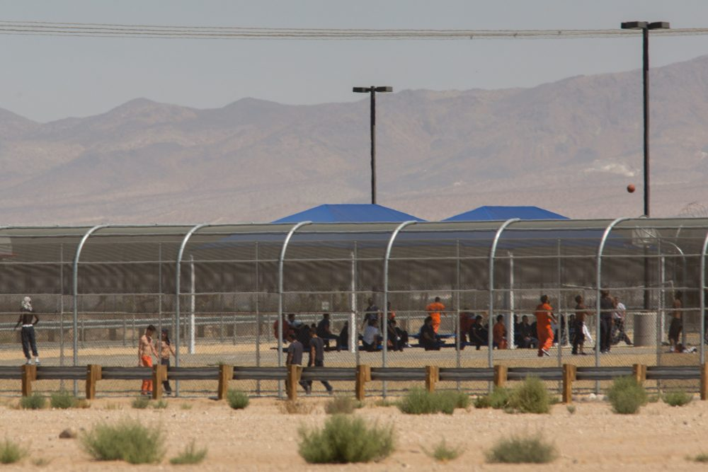 Imprisoned immigrants are seen at the US Immigration and Customs Enforcement Adelanto Detention Facility on September 6, 2016 in Adelanto, Calif. (David McNew/AFP/Getty Images)