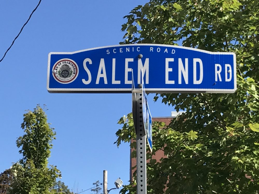 "The road leading to the woods in Ashland is aptly titled ""Salem End Road."" (Deborah Becker/WBUR)"