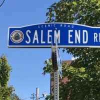 """The road leading to the woods in Ashland is aptly titled """"Salem End Road."""" (Deborah Becker/WBUR)"""