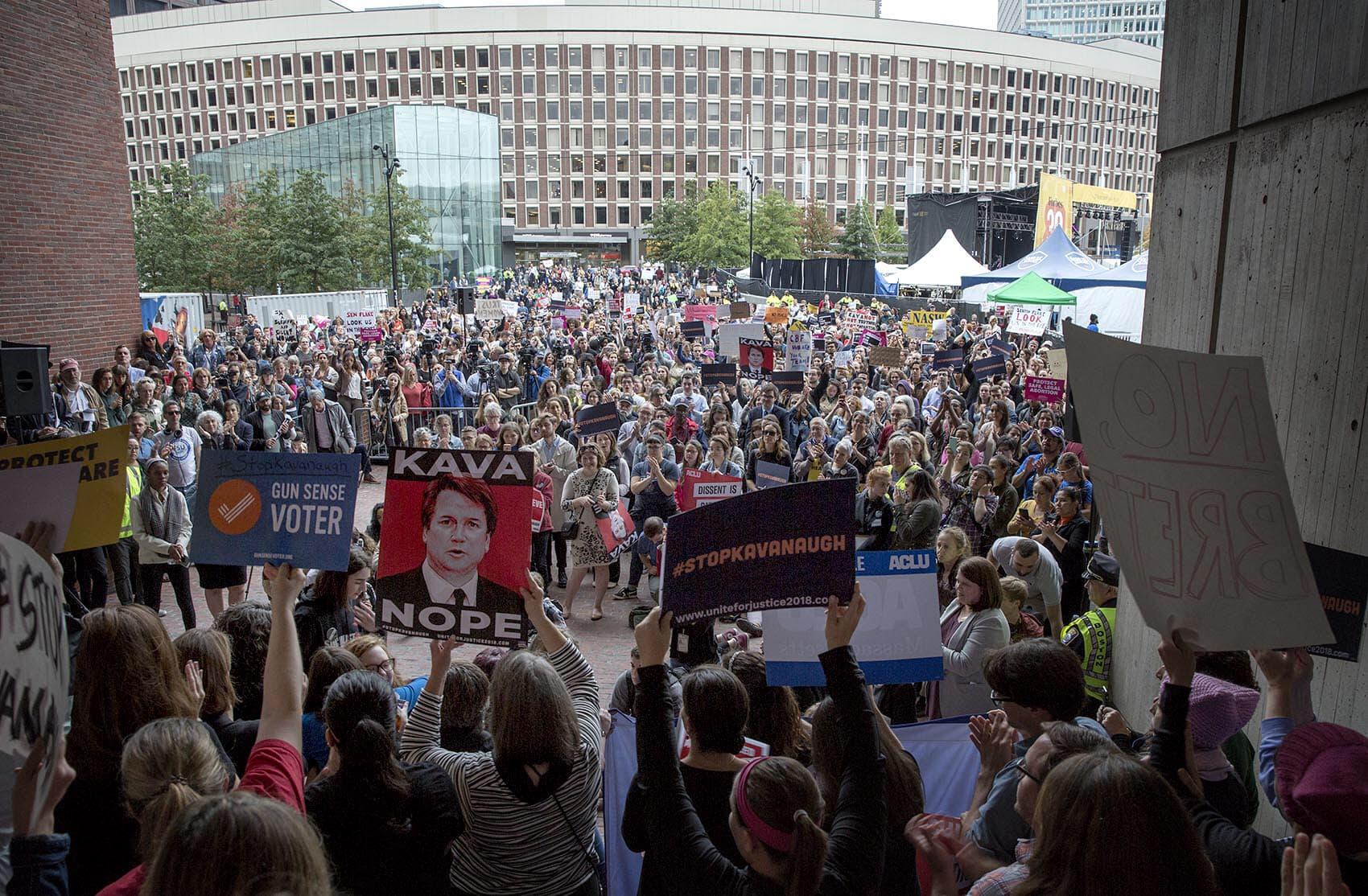 A protest against Brett Kavanaugh's Supreme Court nomination, Monday at Boston City Hall Plaza (Robin Lubbock/WBUR)