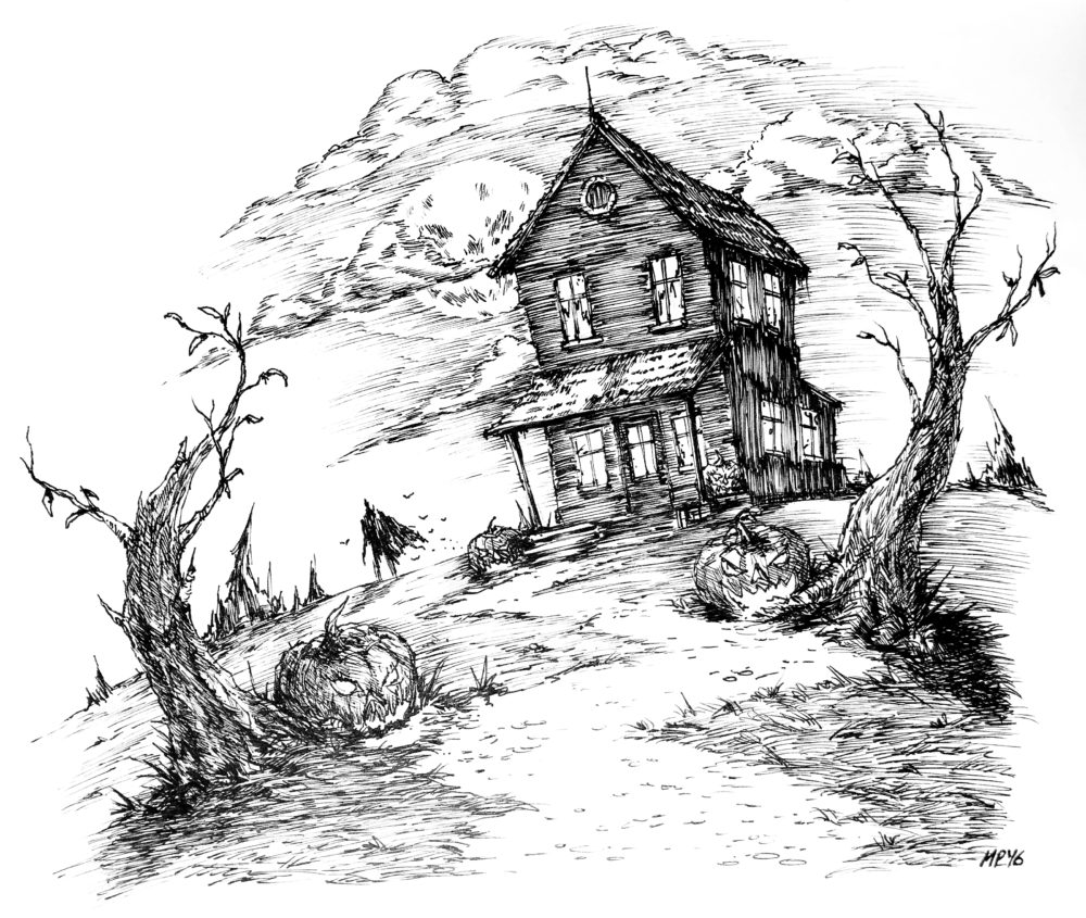 """Inktober Haunted House,"" u/MikePhillipsArt"