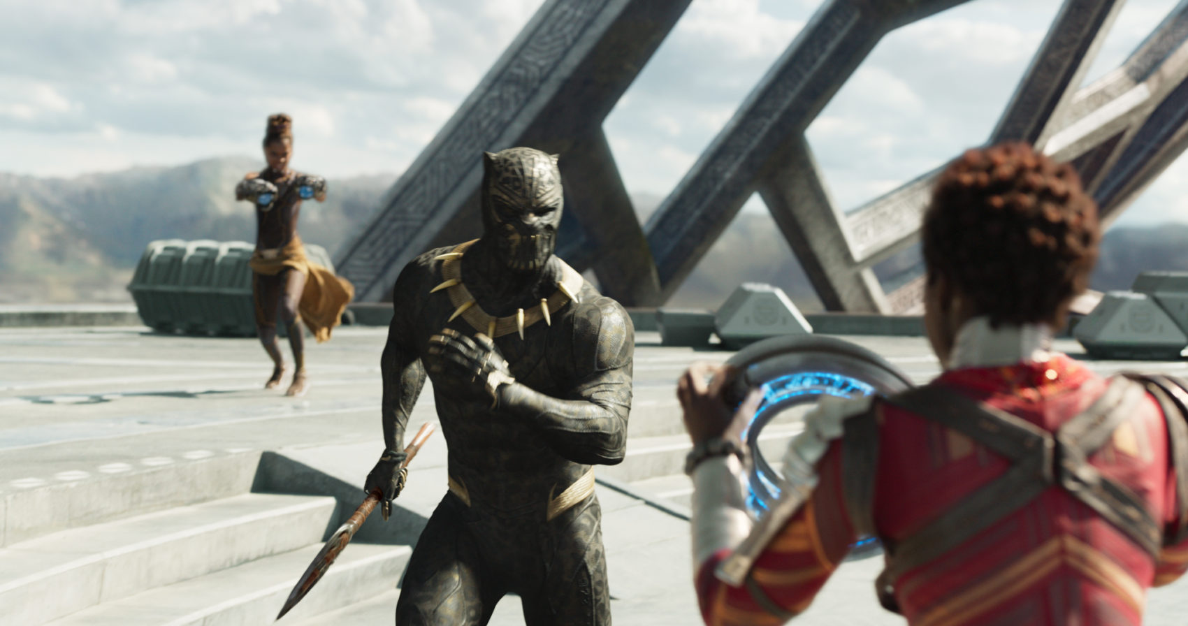 Marvel Studios' BLACK PANTHER..L to R: Shuri (Leititia Wright), Erik Killmonger (Michael B. Jordan) and Nakia (Lupita Nyong'o)..Ph: Film Frame..©Marvel Studios 2018