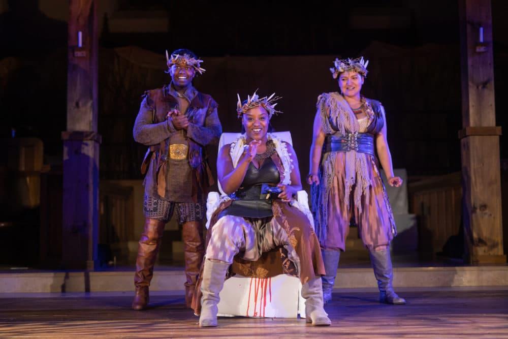"""Trinidad Ramkissoon, Jade Guerra and Alex Casillas in """"Macbeth."""" (Courtesy Actors' Shakespeare Project)"""