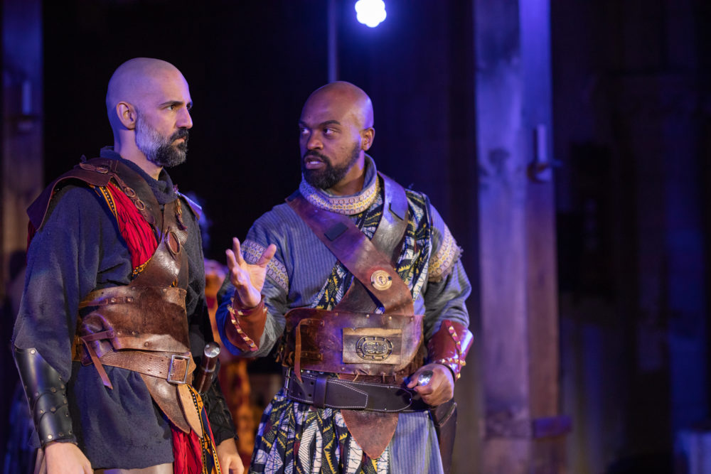 Nael Nacer as Macbeth and Maurice Parent as Banquo. (Courtesy Actors' Shakespeare Project)