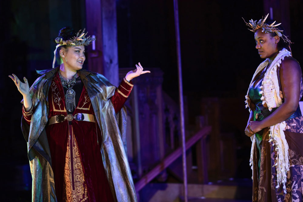 """Paige Clark as Hecate and Jade Guerra as a Weird Sister in Actors' Shakespeare Project production of """"Macbeth."""" (Courtesy Actors' Shakespeare Project)"""