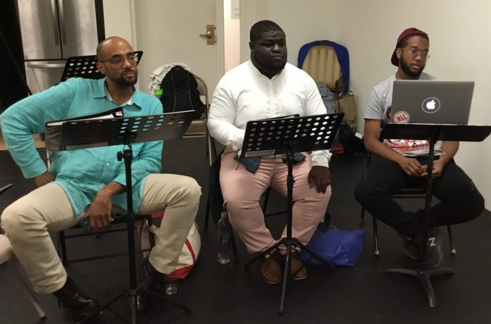 """Duane Moody, Jermaine Tulloch and Joshuah Campbell in a reading of """"Brother Nat."""" (Courtesy)"""