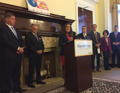 Treasurer Deb Goldberg announces the SeedMA Baby program Tuesday at the State House. (Carrie Jung/WBUR)