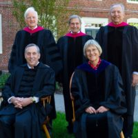 Larry Bacow, bottom left, was inaugurated Friday as Harvard's 29th president. He is flanked by the last four presidents of Harvard University. (Courtesy Harvard University via Twitter)