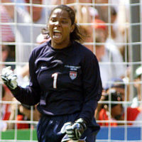 After blocking a penalty shot by Chinese player Liu Ying during the 1999 Women's World Cup final, Briana Scurry roared. (TIMOTHY A. CLARY/AFP/Getty Images)