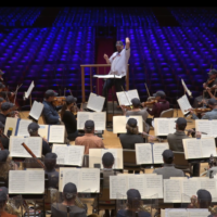 """Andris Nelsons leads the BSO in """"I'm Shipping Up To Boston."""" (Courtesy BSO)"""