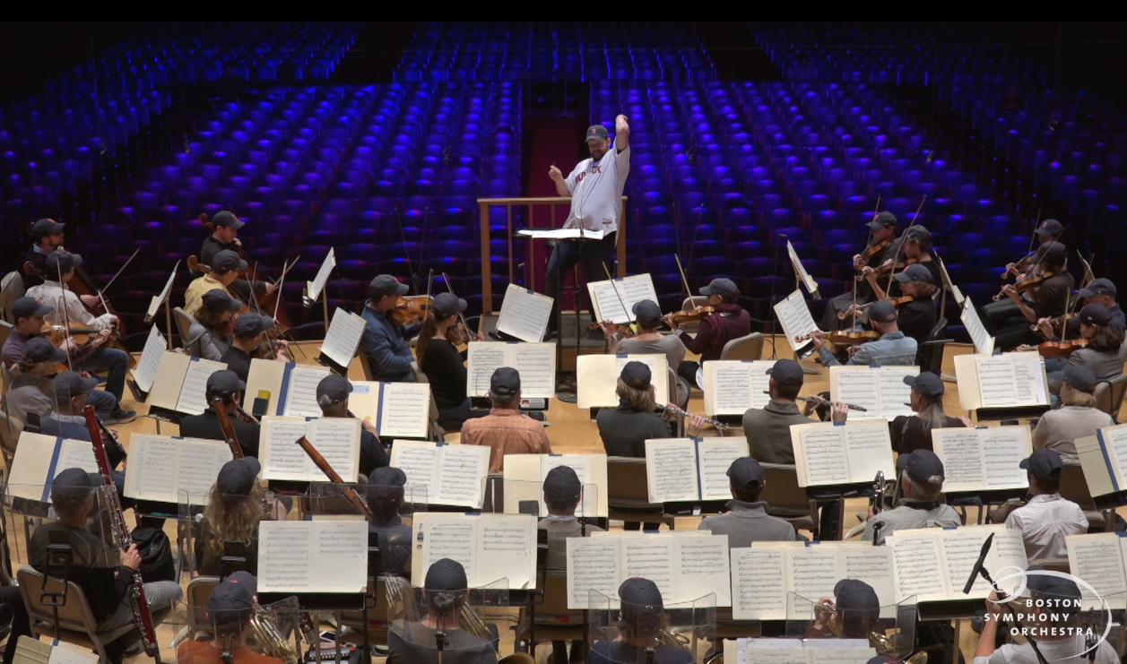 "Andris Nelsons leads the BSO in ""I'm Shipping Up To Boston."" (Courtesy BSO)"