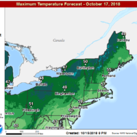 Temperatures will be mild the next couple of days before Thursday's chill. (Courtesy NOAA)