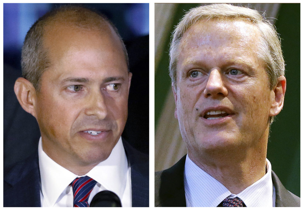 Democratic gubernatorial nominee Jay Gonzalez, left, and Republican Gov. Charlie Baker (AP)