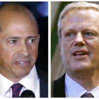 Democratic gubernatorial nominee Jay Gonzalez, left, and Republican Gov. Charlie Baker (AP)