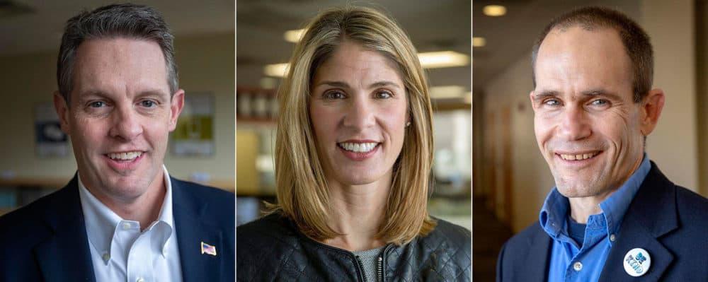 Republican Rick Green, left, Democrat Lori Trahan and independent Mike Mullen (WBUR)