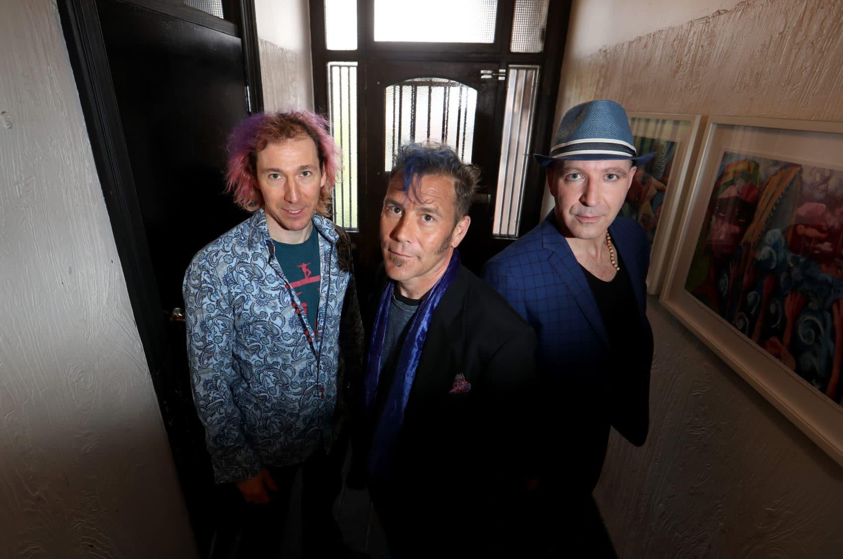 Kofi Baker, Will Johns and Malcolm Bruce at Bakehouse studios in Melbourne. (Courtesy David Geraghty/The Australian)