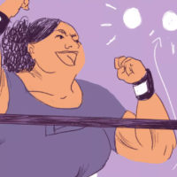 """A panel from """"Powerlifting Doesn't Care What I Look Like,"""" by Colleen Tighe. (Courtesy)"""