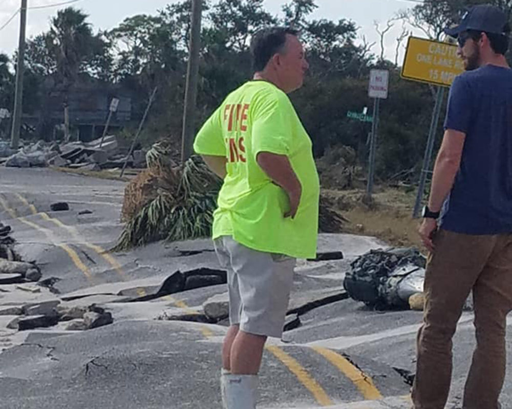 Sean Kearns stands on Alligator Drive in Alligator Point, Florida. (Courtesy Helena A. Scott)