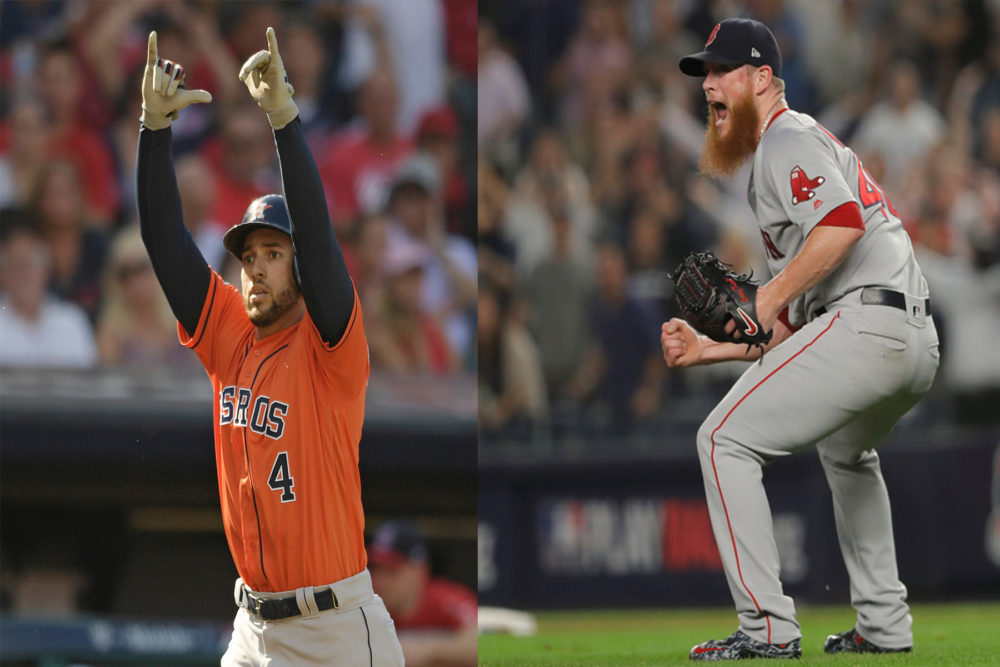 Houston Astros' George Springer during Game 3 of the ALDS in Cleveland (left) and Boston Red Sox relief pitcher Craig Kimbrel (right) reacts after the Red Sox beat the New York Yankees in Game 4 of the ALDS. (David Dermer/AP, Julie Jacobson/ AP)