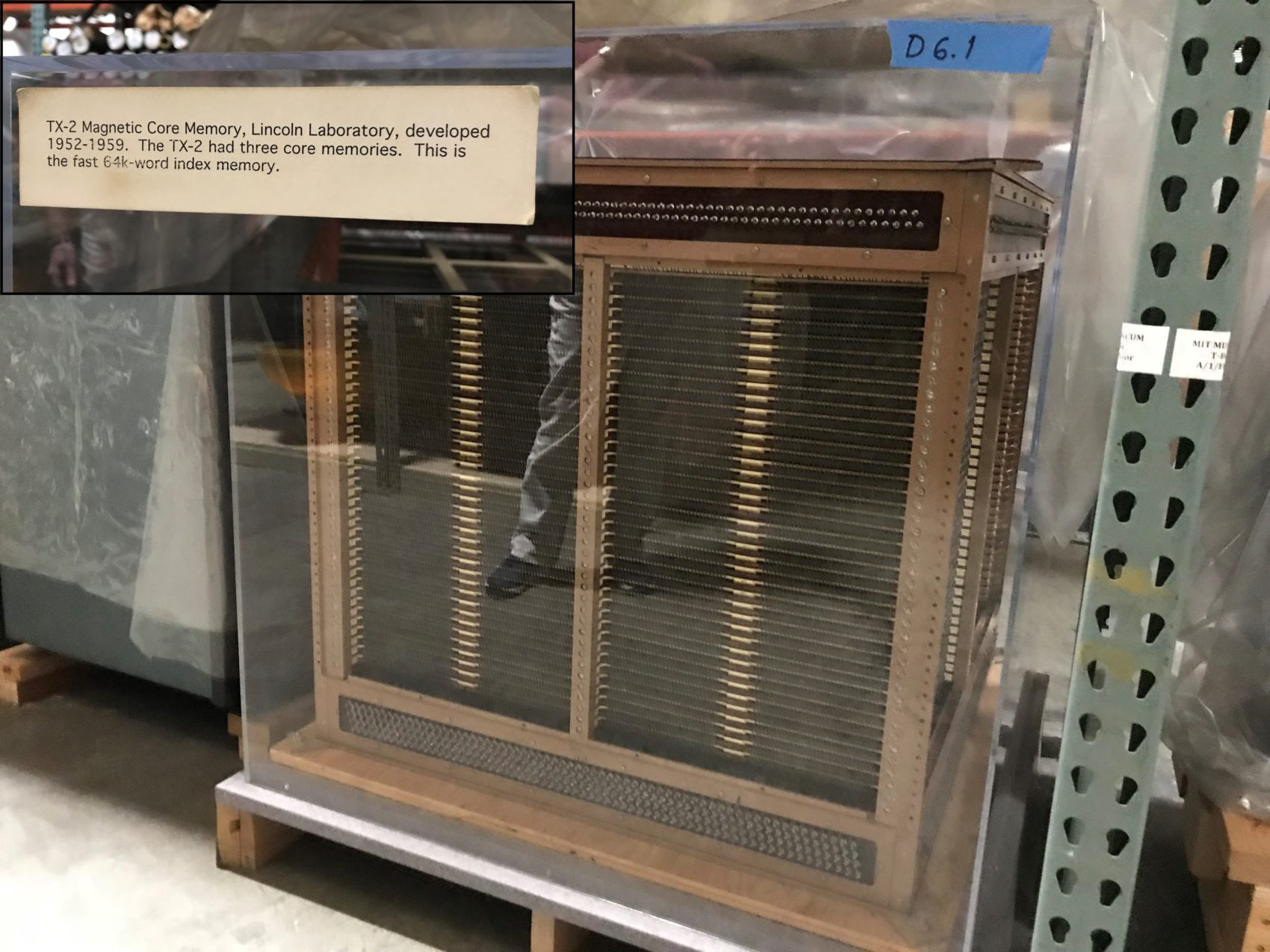 In a time before silicon chips, this oversize memory core, roughly 8 cubic feet, was part of a room-size computer called the TX-2. (Callum Borchers/WBUR)