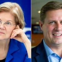U.S. Sen. Elizabeth Warren and her Republican challenger, state Rep. Geoff Diehl (Robin Lubbock/WBUR)