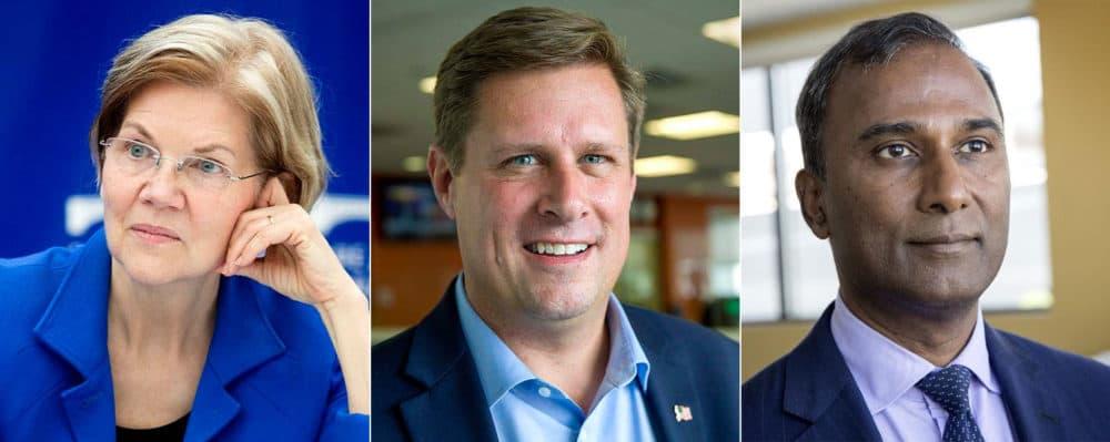 Democratic Sen. Elizabeth Warren, Republican Geoff Diehl, center, and independent Shiva Ayyadurai (WBUR)