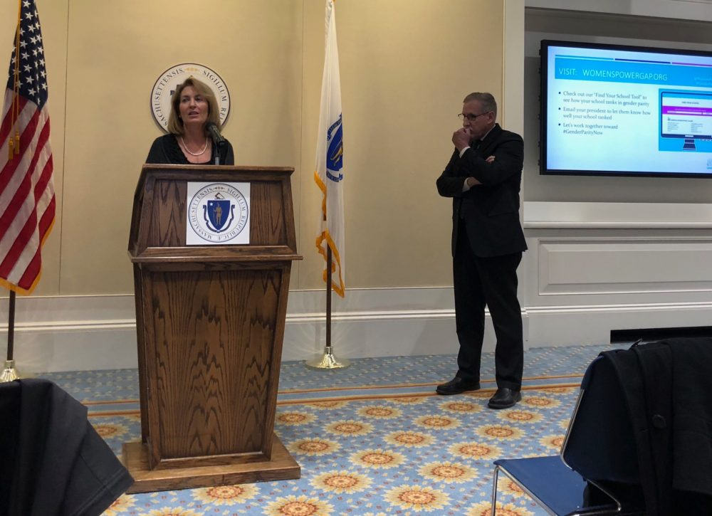 Eos Foundation President Andrea Silbert was joined by Commissioner of Higher Education Carlos Santiago to discuss gender disparity in Massachusetts' colleges and universities. (Chris Triunfo/SHNS)