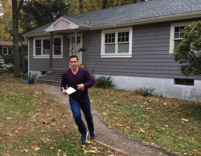 Adam Greenberg used to run the base paths. Now he runs to voters' doors. (Martin Kessler/Only A Game)