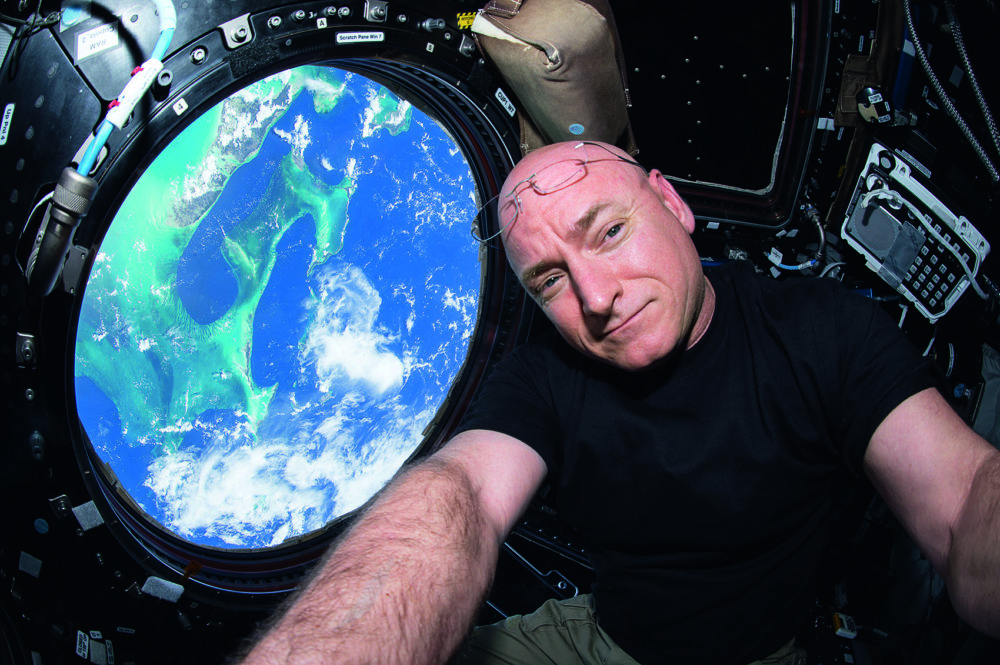 Scott Kelly, in a selfie taken overlooking the Bahamas. (Courtesy of NASA/Scott Kelly)