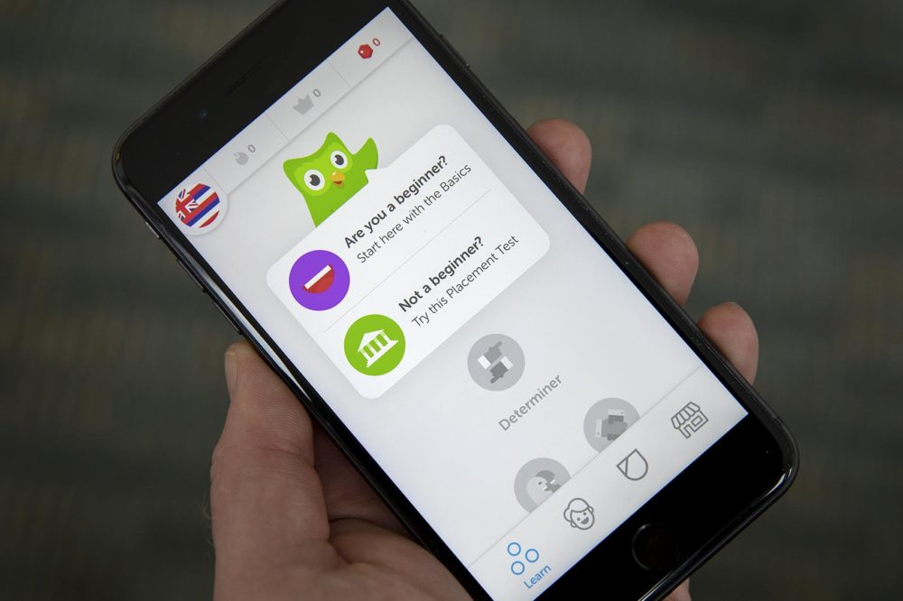 Today, there are fewer than 300 native speakers of olelo Hawai'i. But the popular language-learning app Duolingo has made it possible to learn it for free. (Robin Lubbock/WBUR)